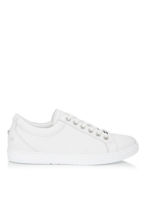 CASH White Soft Leather Low Top Trainers