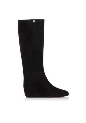 OLIVIA Black Suede Knee High Boots