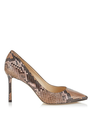 ROMY 85 Nutmeg and Rosewater Dégradé Painted Python Pointy Toe Pumps
