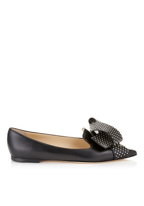 GLEAM FLAT Black Kid Leather Pointy Toe Pumps with Studded Bow