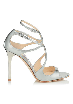 LANG Silver Liquid Mirror Leather Sandals