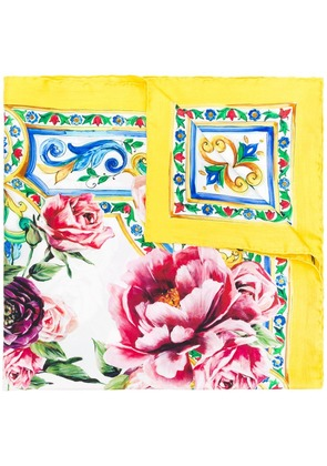 Dolce & Gabbana majolica and peonies print scarf - Yellow & Orange