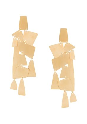Annie Costello Brown oversized geometric pendant earrings - Metallic