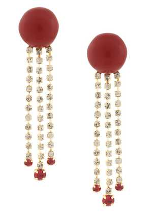 Marni long embellished earrings - Red