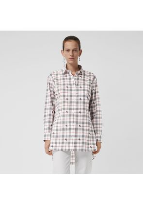 Burberry Fil Coupé Check Cotton Shirt, White