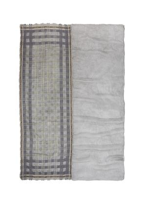 Check twill panel wool blend scarf