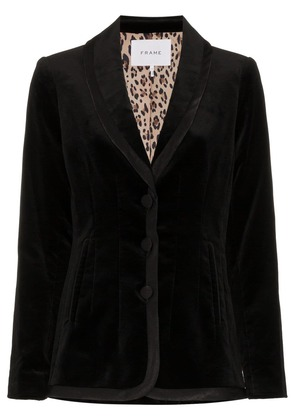 Frame Denim single breasted and printed lined velvet blazer - Black