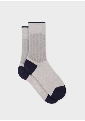 Women's Light Grey Socks With Ribbed Silver Detail