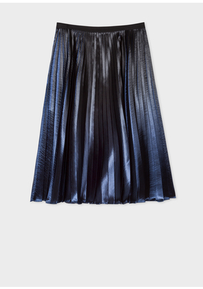 Women's Navy Ombre Pleated Skirt