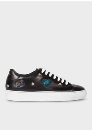 Women's Black Leather 'Dreamer' Embroidered 'Basso' Trainers