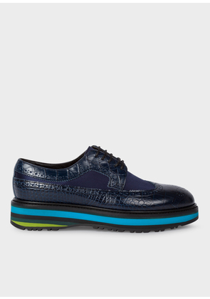 Women's Dark Navy Mock-Croc Leather 'Grand' Brogues With Striped Soles