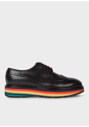 Women's Black Leather 'Grand' Brogues With Striped Soles