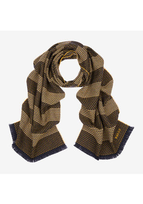 Bally Wool-Cashmere Jacquard Sashiko Scarf Yellow, Men's wool and cashmere scarf in canary yellow