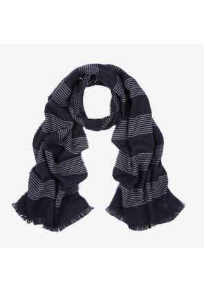 Bally Wool-Cashmere Jacquard Sashiko Scarf Blue, Men's wool and cashmere scarf in blue navy