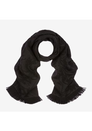 Bally Crest Jacquard Scarf Black, Women's wool and silk blend scarf in black