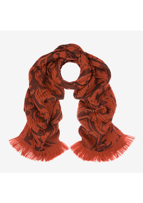 Bally Crest Jacquard Scarf Red, Women's wool and silk blend scarf in lobster