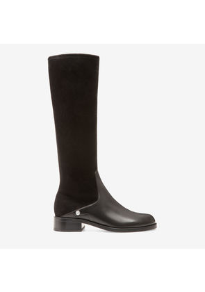 Bally Sabella Black, Women's stretch nappa and suede long boots with 30mm heel in black