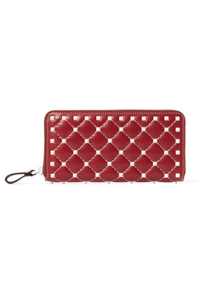 Valentino - Valentino Garavani The Rockstud Spike Quilted Leather Wallet - Red