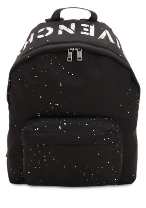 LOGO PRINTED & STENCIL NYLON BACKPACK