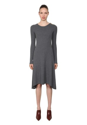 HALLE MERINO WOOL RIBBED KNIT DRESS