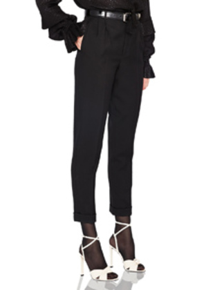 Saint Laurent Gabardine High Waisted Pants in Black