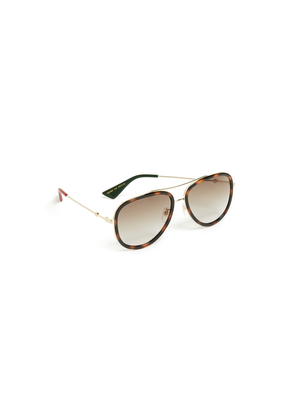 Gucci Web Block Pilot Sunglasses