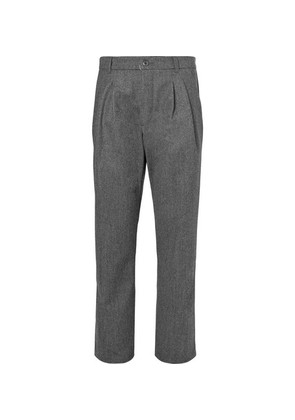 Serge Pleated Virgin Wool And Cotton-blend Trousers