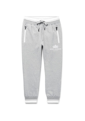 Tapered Striped Loopback Cotton-blend Jersey Sweatpants