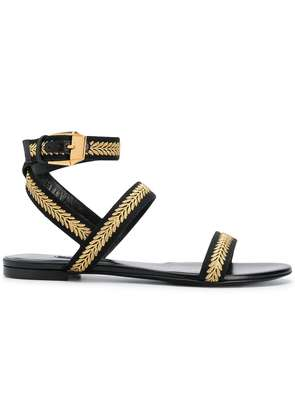 Versace flat embroidered sandals - Black