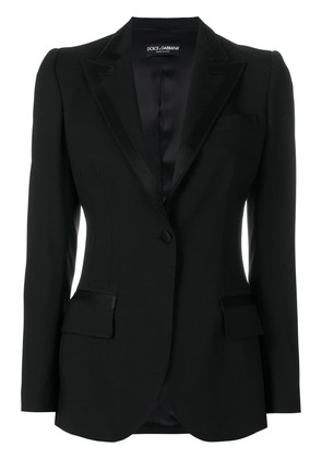 Dolce & Gabbana satin trim lapel blazer - Black