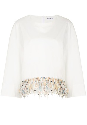 COOHEM tweed-fringed fitted shirt - White