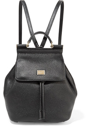 Dolce & Gabbana - Sicily Small Textured-leather Backpack - Black