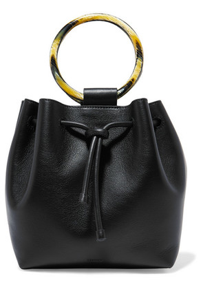 Theory - Drawstring Leather Tote - Black
