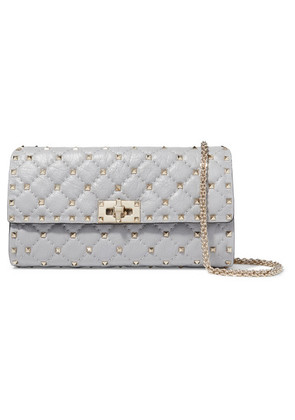 Valentino - Valentino Garavani The Rockstud Spike Quilted Leather Shoulder Bag - Gray