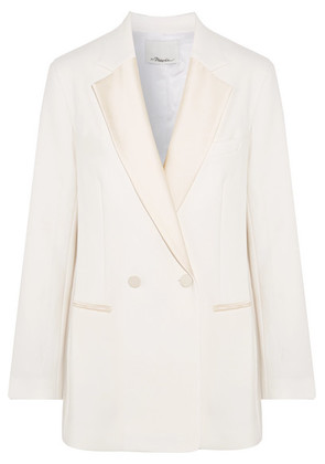 3.1 Phillip Lim - Double-breasted Satin-trimmed Crepe Blazer - Ivory