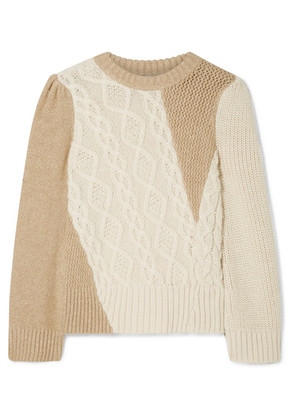 Co - Two-tone Cable-knit Alpaca-blend Sweater - Cream