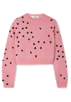 Valentino - Cropped Sequin-embellished Mohair-blend Sweater - Baby pink