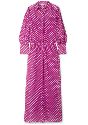By Malene Birger - Nangila Printed Cotton And Silk-blend Crepon Maxi Dress - Plum