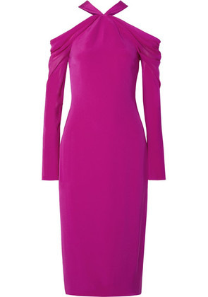 Cushnie - Cold-shoulder Silk Crepe De Chine Midi Dress - Fuchsia