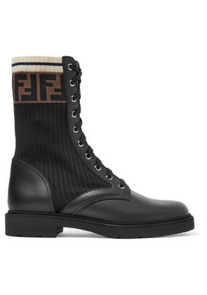 Fendi - Logo-jacquard Stretch-knit And Leather Ankle Boots - Black