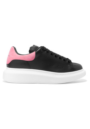 Alexander McQueen - Suede-trimmed Leather Exaggerated-sole Sneakers - Black