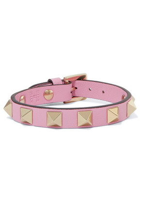 Valentino - Valentino Garavani The Rockstud Leather And Gold-tone Bracelet - Pastel pink