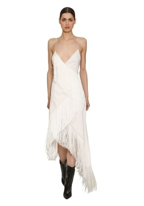 WOOL CREPE FRINGED DRESS