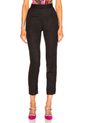 Dolce & Gabbana Pinstripe High Waisted Trousers in Black,Pink,Stripes