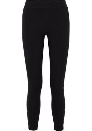 Yummie By Heather Thomson Woman Cropped Eyelet-embellished Stretch-cotton Leggings Black Size XS