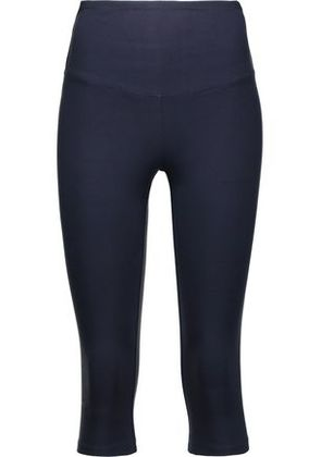 Yummie By Heather Thomson Woman Cropped Stretch-cotton Jersey Leggings Blue Size XS