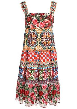 Dolce & Gabbana Woman Paneled Embellished Printed Cotton-blend Dress Multicolor Size 40