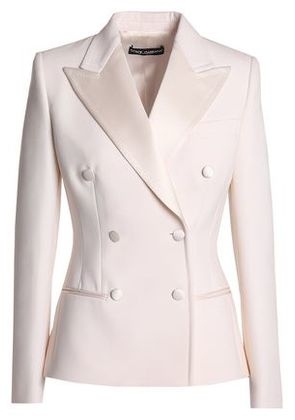 Dolce & Gabbana Woman Double-breasted Satin-trimmed Wool And Silk-blend Blazer Ivory Size 40
