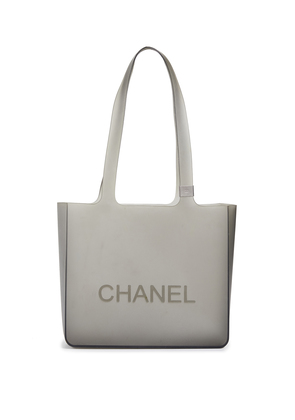 What Goes Around Comes Around Chanel Grey Rubber Tote