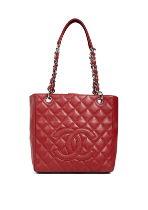 What Goes Around Comes Around Chanel Red Caviar Petite Shopper Tote